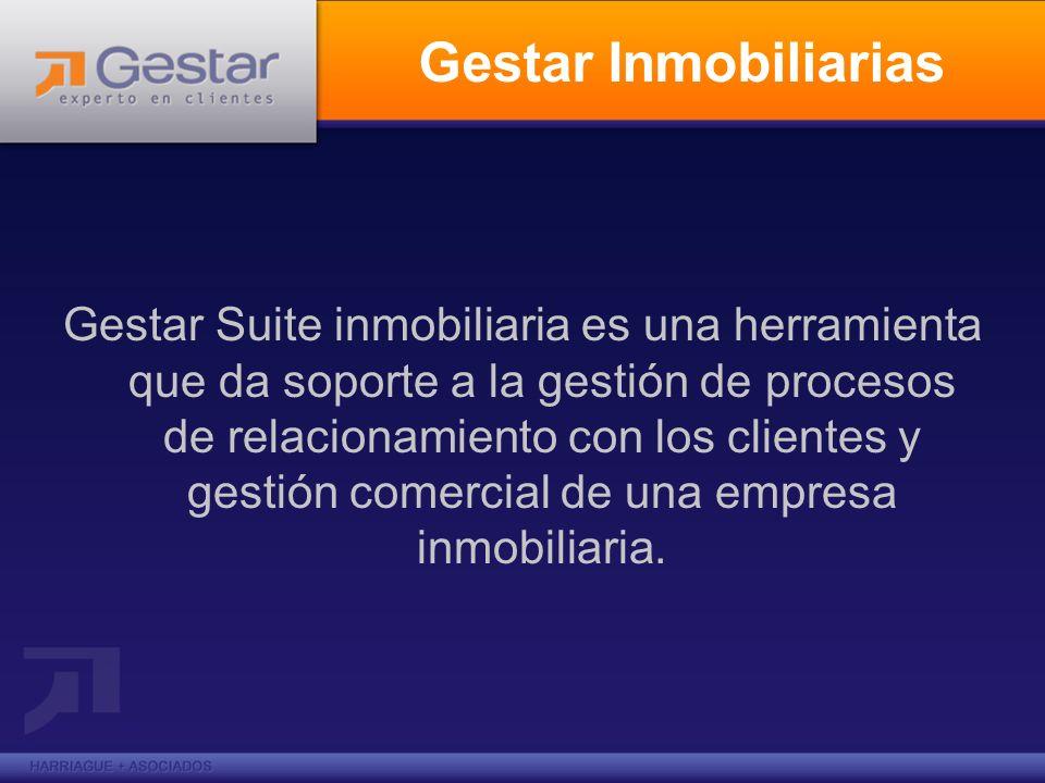 Gestar Inmobiliarias Gestar Suite inmobiliaria es una herramienta que da soporte a la gestión de procesos de relacionamiento con los clientes y gestió