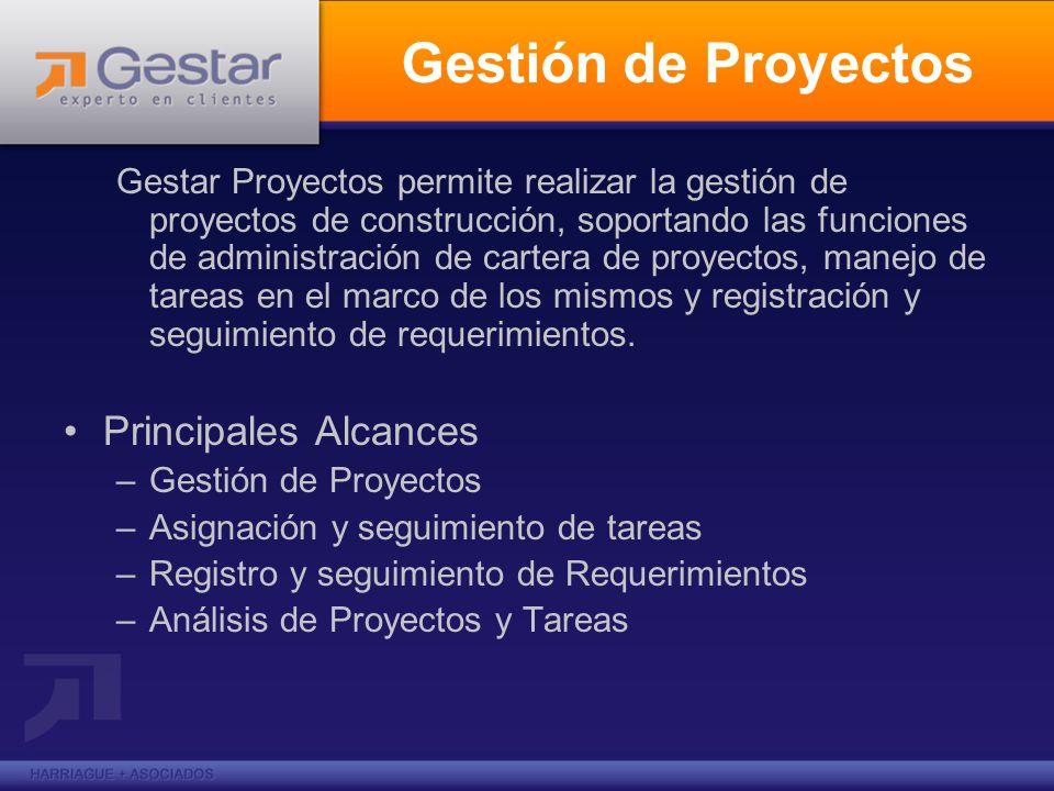 Gestión de Proyectos Gestar Proyectos permite realizar la gestión de proyectos de construcción, soportando las funciones de administración de cartera
