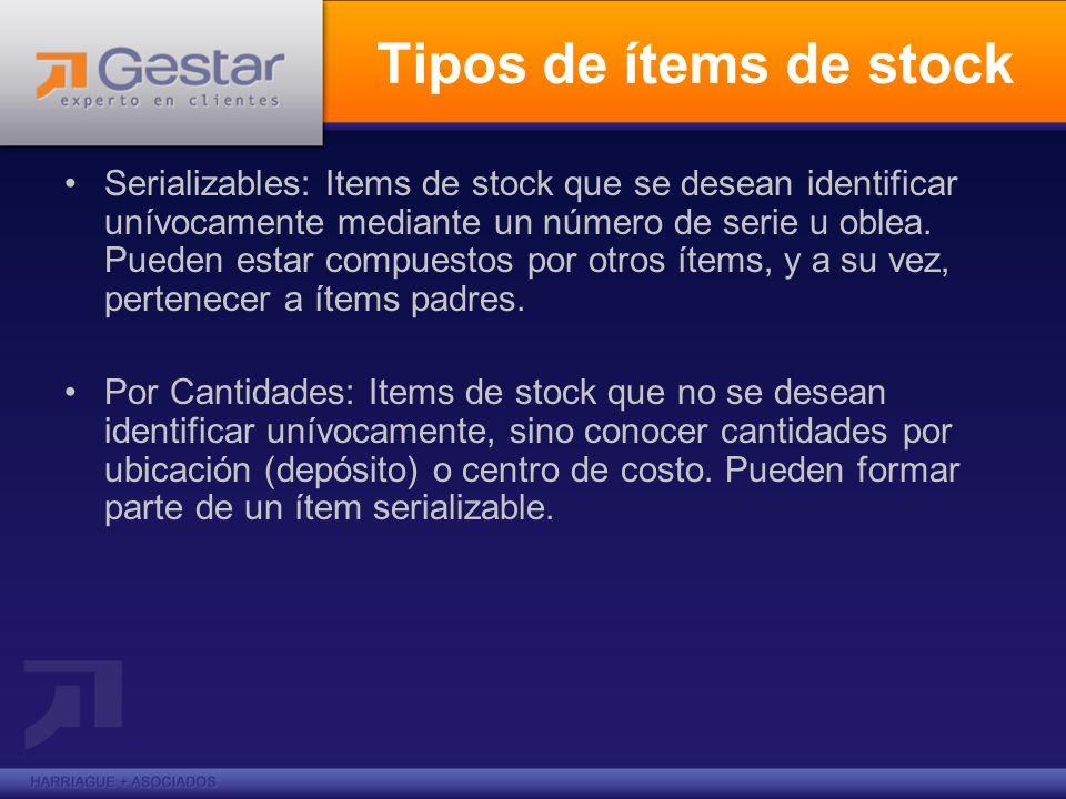 Tipos de ítems de stock Serializables: Items de stock que se desean identificar unívocamente mediante un número de serie u oblea. Pueden estar compues