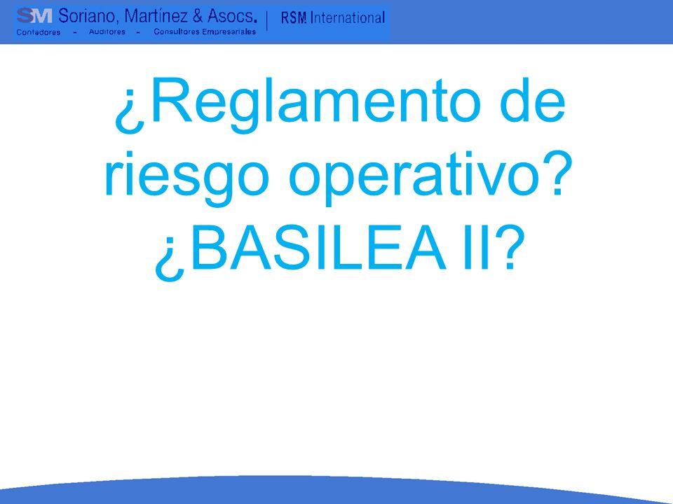 ¿Reglamento de riesgo operativo? ¿BASILEA II?