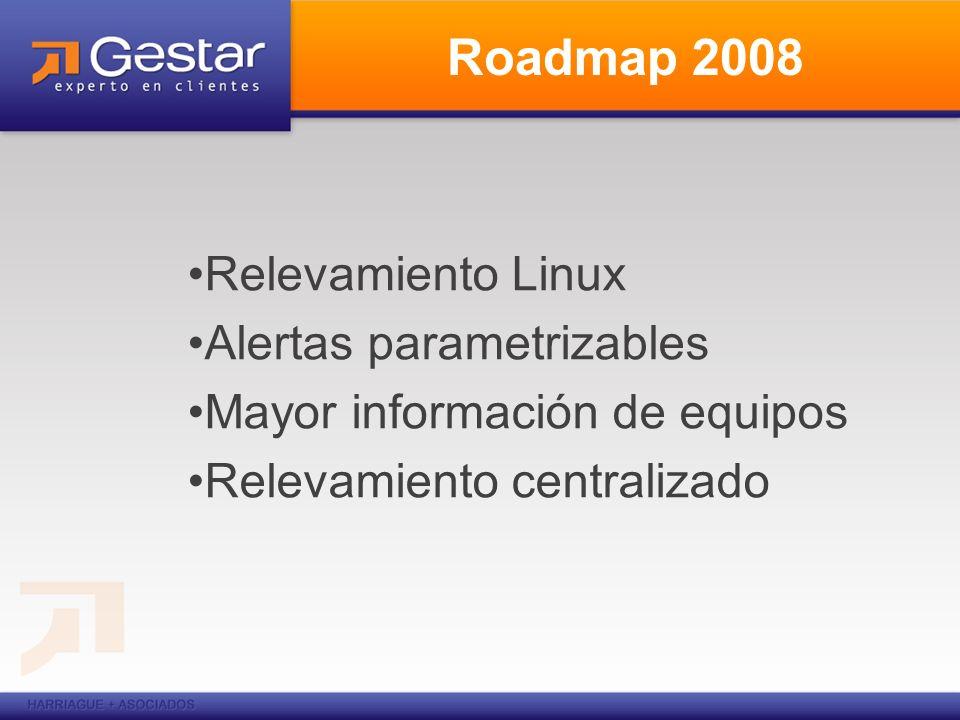 Roadmap 2008 Relevamiento Linux Alertas parametrizables Mayor información de equipos Relevamiento centralizado