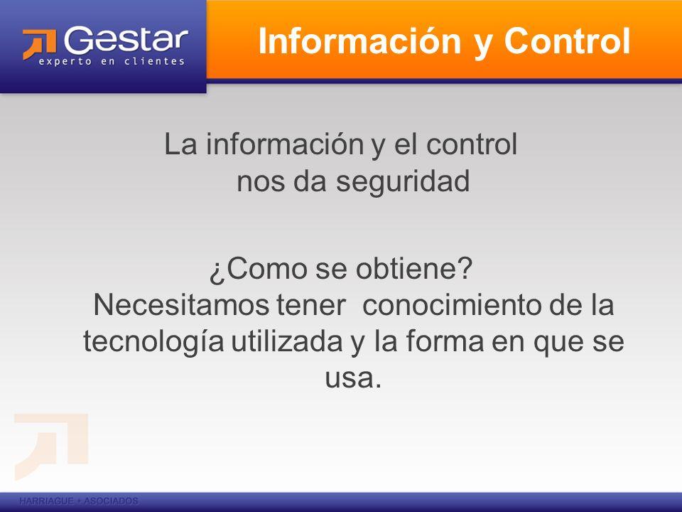Información y Control La información y el control nos da seguridad ¿Como se obtiene.