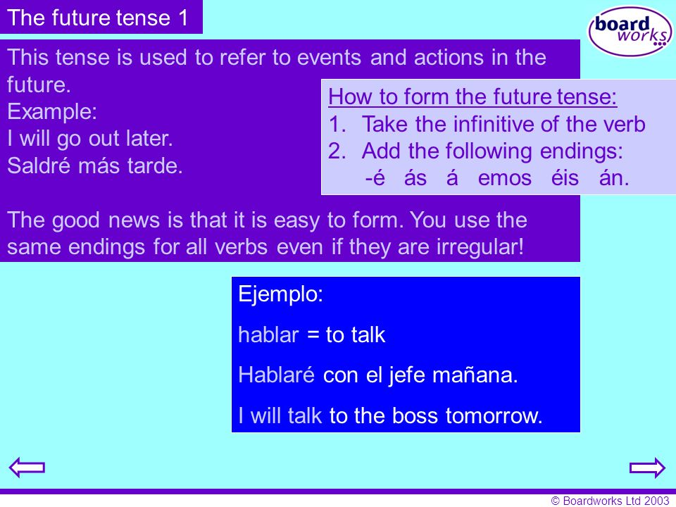 © Boardworks Ltd 2003 The future tense 1 This tense is used to refer to events and actions in the future. Example: I will go out later. Saldré más tar