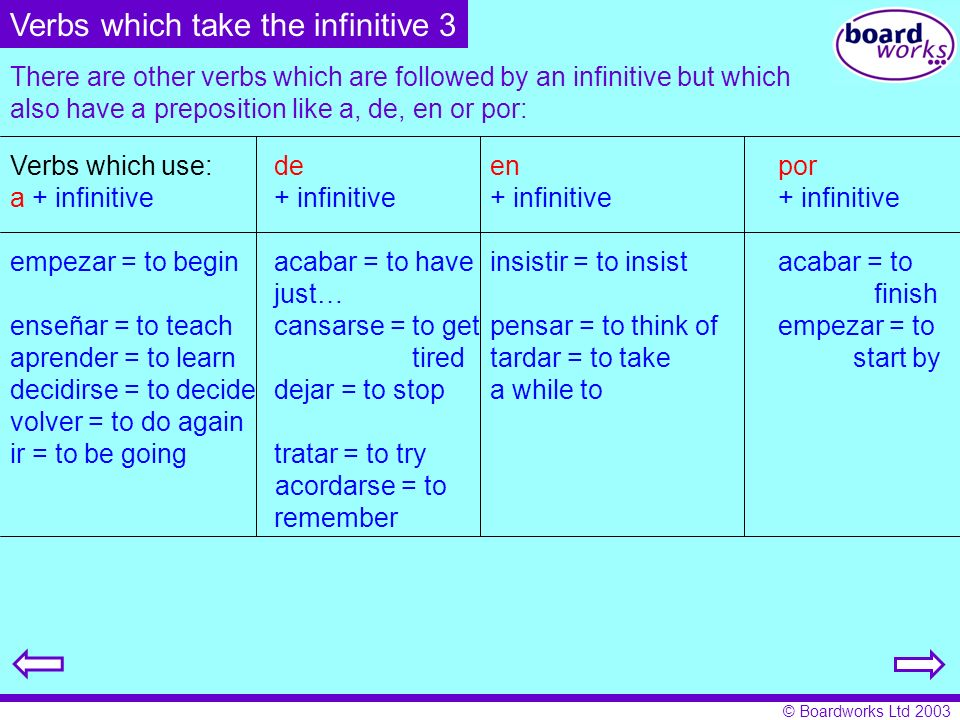 © Boardworks Ltd 2003 There are other verbs which are followed by an infinitive but which also have a preposition like a, de, en or por: Verbs which u