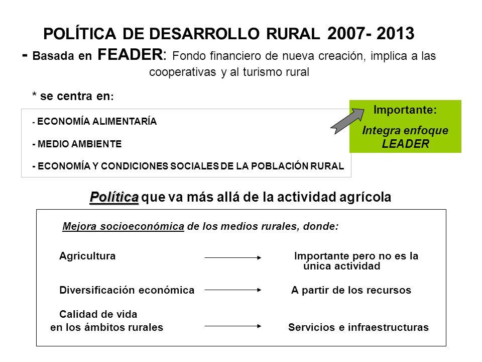 POLÍTICA DE DESARROLLO RURAL 2007- 2013 - Basada en FEADER: Fondo financiero de nueva creación, implica a las cooperativas y al turismo rural * se cen