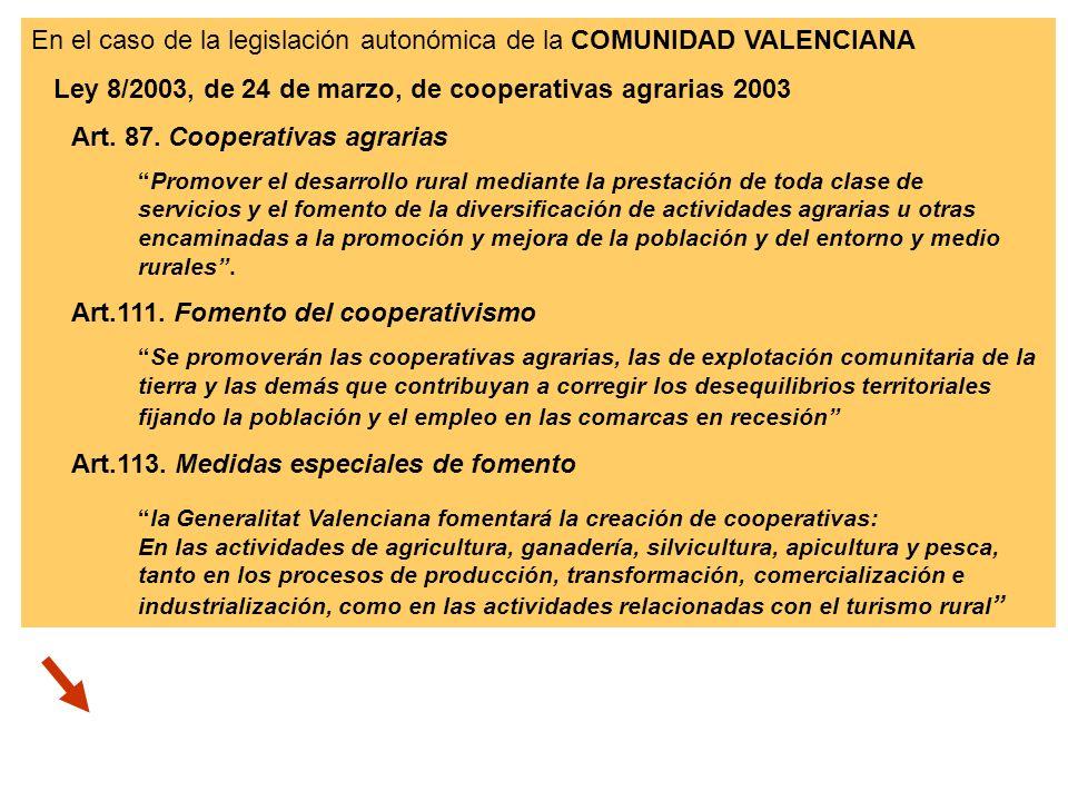 En el caso de la legislación autonómica de la COMUNIDAD VALENCIANA Ley 8/2003, de 24 de marzo, de cooperativas agrarias 2003 Art. 87. Cooperativas agr