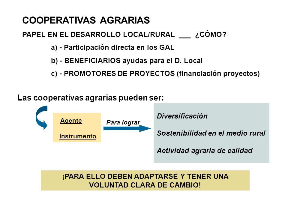 COOPERATIVAS AGRARIAS PAPEL EN EL DESARROLLO LOCAL/RURAL ___ ¿CÓMO? a) - Participación directa en los GAL b) - BENEFICIARIOS ayudas para el D. Local c