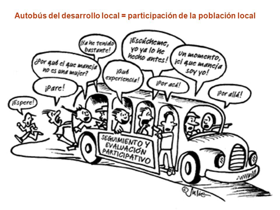 Autobús del desarrollo local = participación de la población local