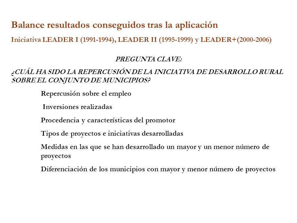 Balance resultados conseguidos tras la aplicación Iniciativa LEADER I (1991-1994), LEADER II (1995-1999) y LEADER+(2000-2006) PREGUNTA CLAVE: ¿CUÁL HA