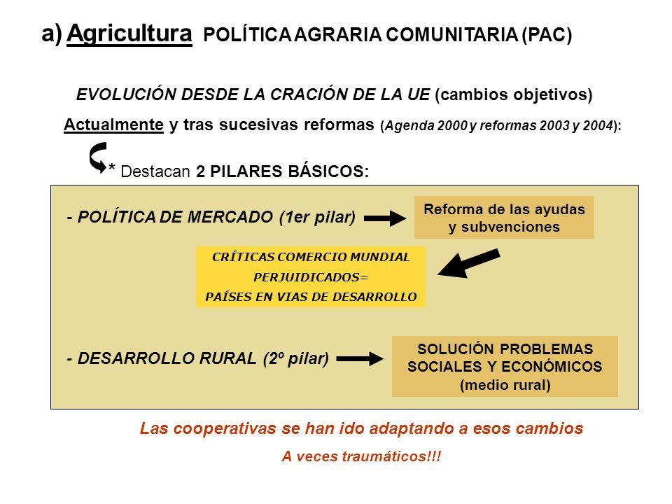 a)Agricultura POLÍTICA AGRARIA COMUNITARIA (PAC) EVOLUCIÓN DESDE LA CRACIÓN DE LA UE (cambios objetivos) Actualmente y tras sucesivas reformas (Agenda