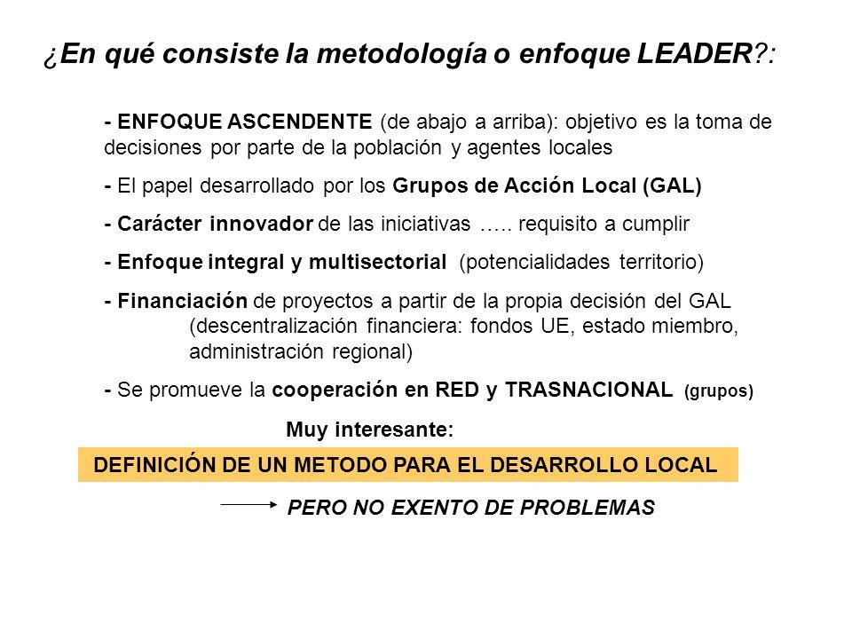 ¿En qué consiste la metodología o enfoque LEADER?: - ENFOQUE ASCENDENTE (de abajo a arriba): objetivo es la toma de decisiones por parte de la poblaci