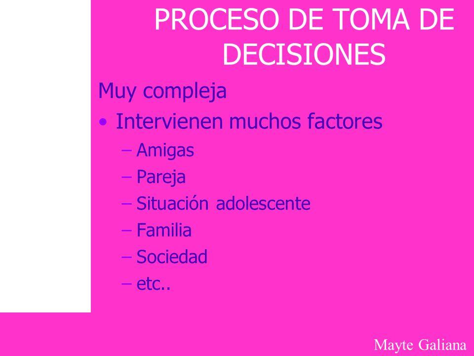 Mayte Galiana PROCESO DE TOMA DE DECISIONES Muy compleja Intervienen muchos factores –Amigas –Pareja –Situación adolescente –Familia –Sociedad –etc..