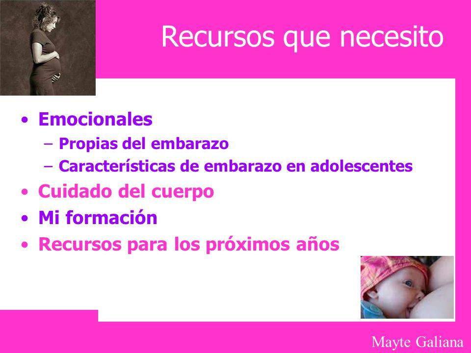 Mayte Galiana Recursos que necesito Emocionales –Propias del embarazo –Características de embarazo en adolescentes Cuidado del cuerpo Mi formación Rec