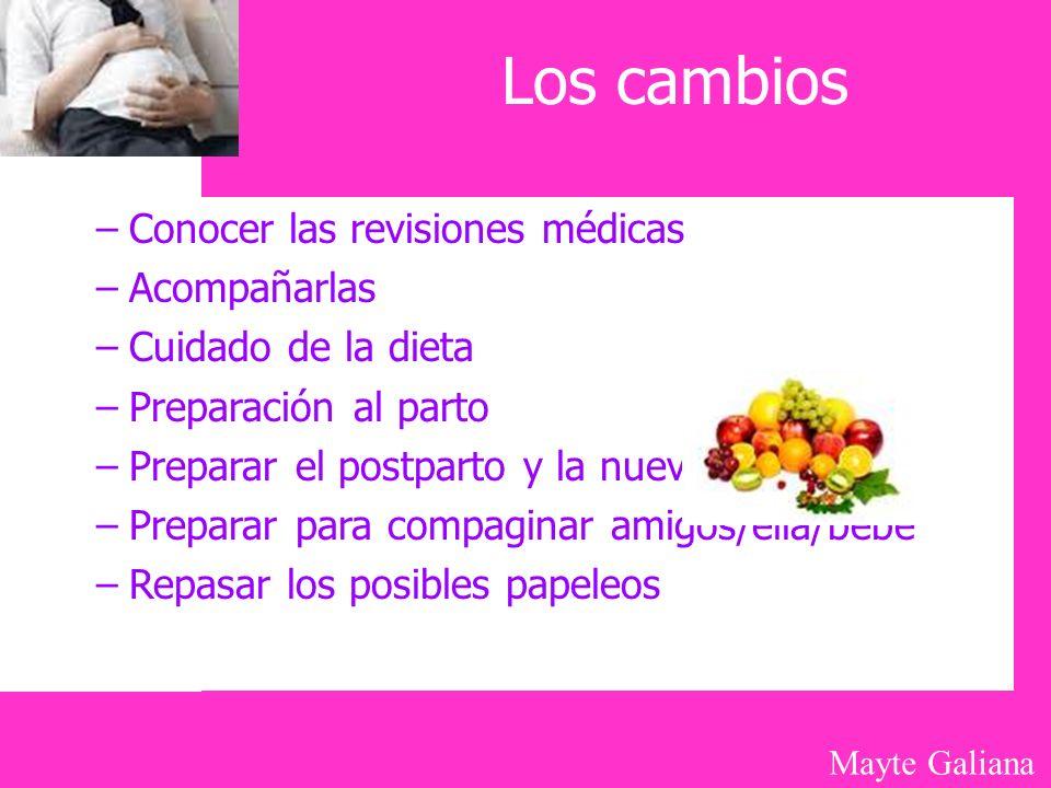 Mayte Galiana Los cambios –Conocer las revisiones médicas –Acompañarlas –Cuidado de la dieta –Preparación al parto –Preparar el postparto y la nueva s