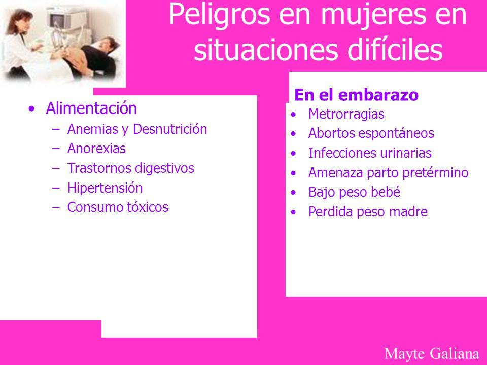 Mayte Galiana Peligros en mujeres en situaciones difíciles Alimentación –Anemias y Desnutrición –Anorexias –Trastornos digestivos –Hipertensión –Consu