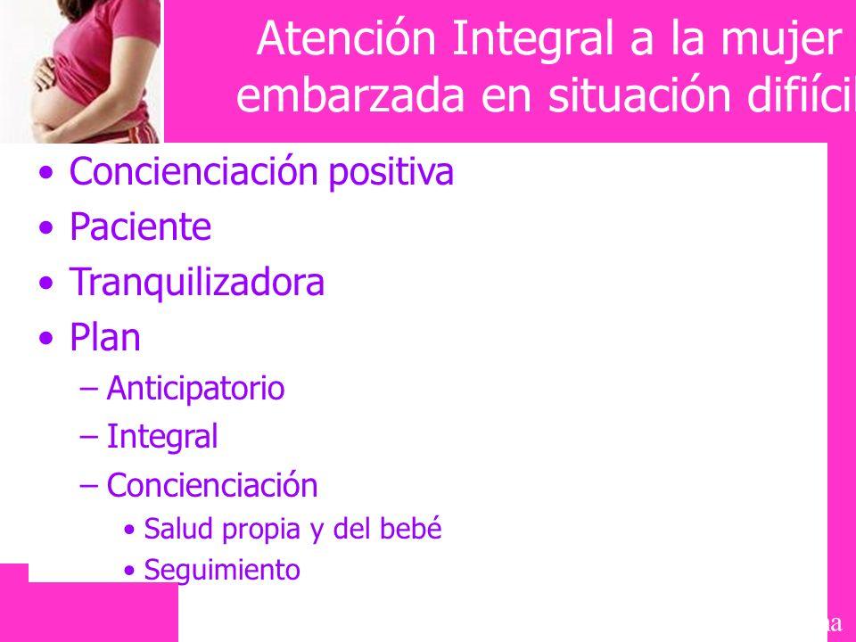 Mayte Galiana Atención Integral a la mujer embarzada en situación difiícil Concienciación positiva Paciente Tranquilizadora Plan –Anticipatorio –Integ