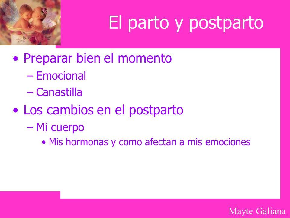 Mayte Galiana El parto y postparto Preparar bien el momento –Emocional –Canastilla Los cambios en el postparto –Mi cuerpo Mis hormonas y como afectan