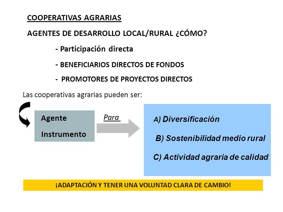 COOPERATIVAS AGRARIAS AGENTES DE DESARROLLO LOCAL/RURAL ¿CÓMO? - Participación directa - BENEFICIARIOS DIRECTOS DE FONDOS - PROMOTORES DE PROYECTOS DI