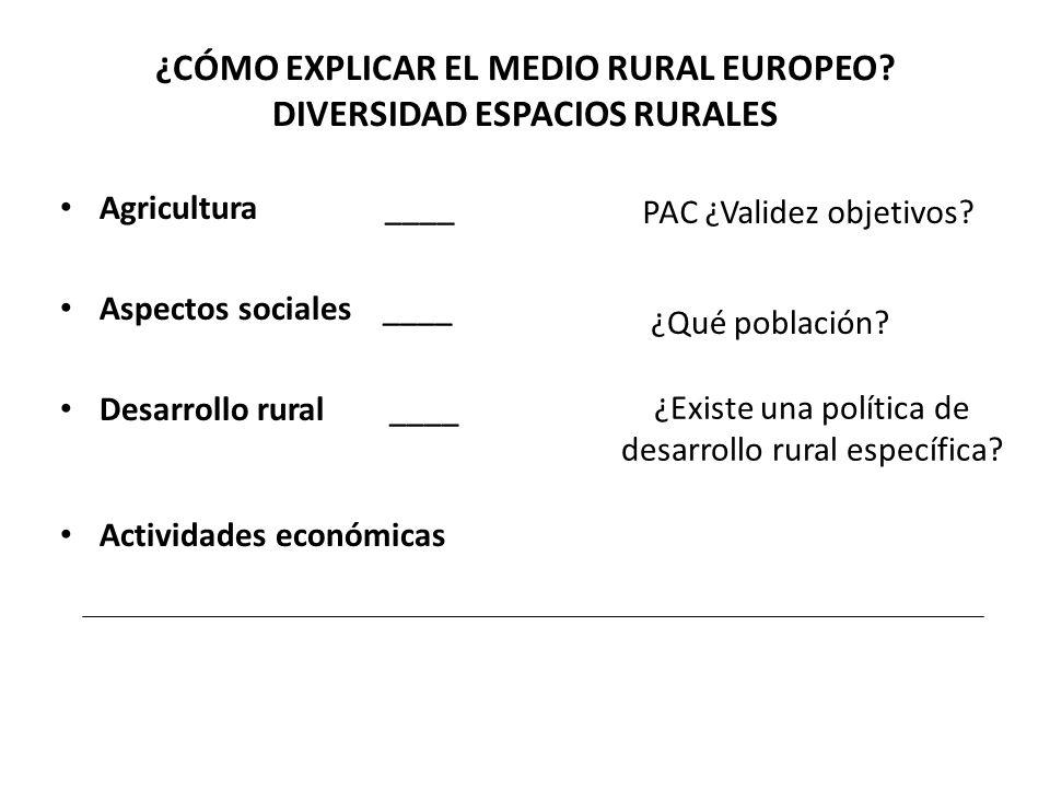 ¿CÓMO EXPLICAR EL MEDIO RURAL EUROPEO? DIVERSIDAD ESPACIOS RURALES Agricultura ____ Aspectos sociales ____ Desarrollo rural ____ Actividades económica