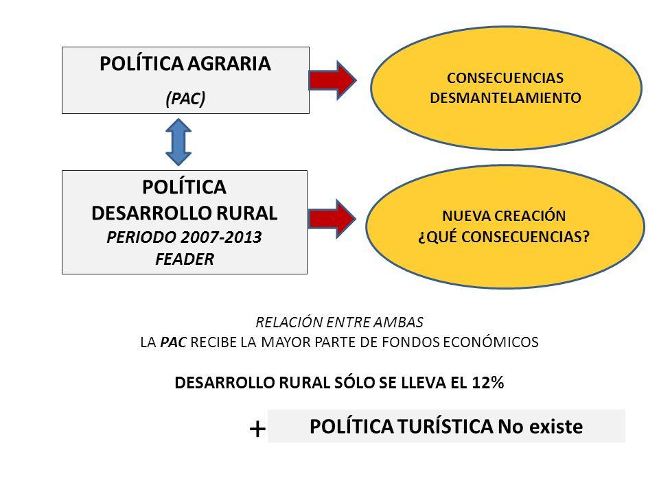 POLÍTICA DESARROLLO RURAL PERIODO 2007-2013 FEADER POLÍTICA AGRARIA (PAC) POLÍTICA TURÍSTICA No existe CONSECUENCIAS DESMANTELAMIENTO NUEVA CREACIÓN ¿