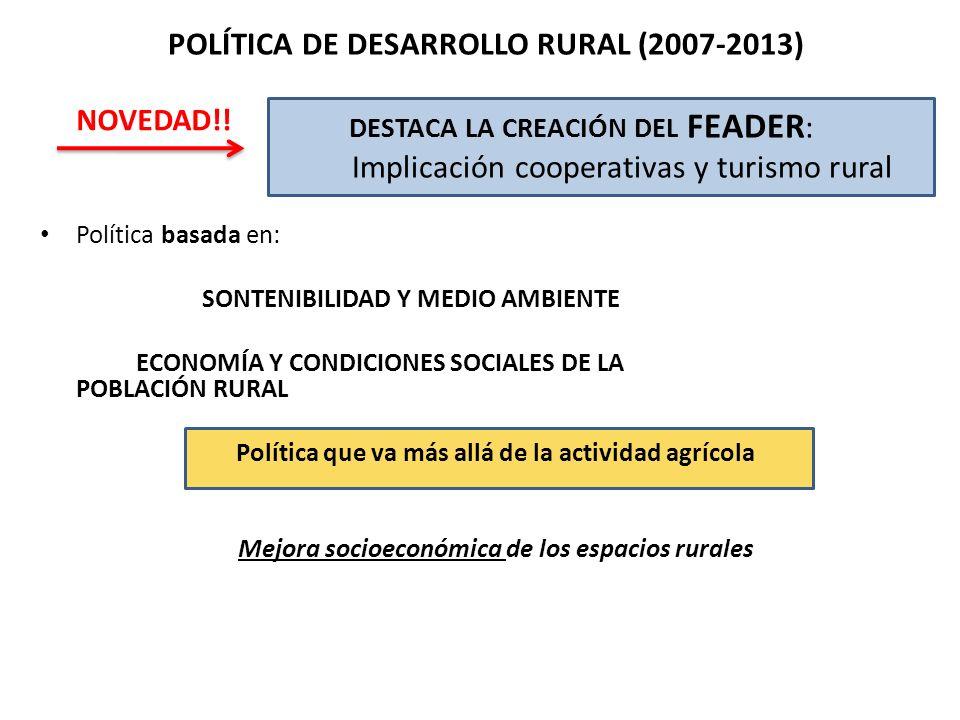 Política basada en: SONTENIBILIDAD Y MEDIO AMBIENTE ECONOMÍA Y CONDICIONES SOCIALES DE LA POBLACIÓN RURAL Política que va más allá de la actividad agr