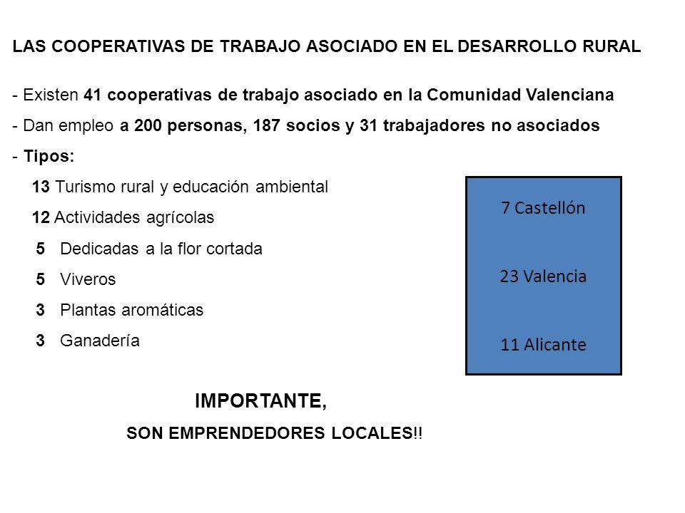 LAS COOPERATIVAS DE TRABAJO ASOCIADO EN EL DESARROLLO RURAL - Existen 41 cooperativas de trabajo asociado en la Comunidad Valenciana - Dan empleo a 20