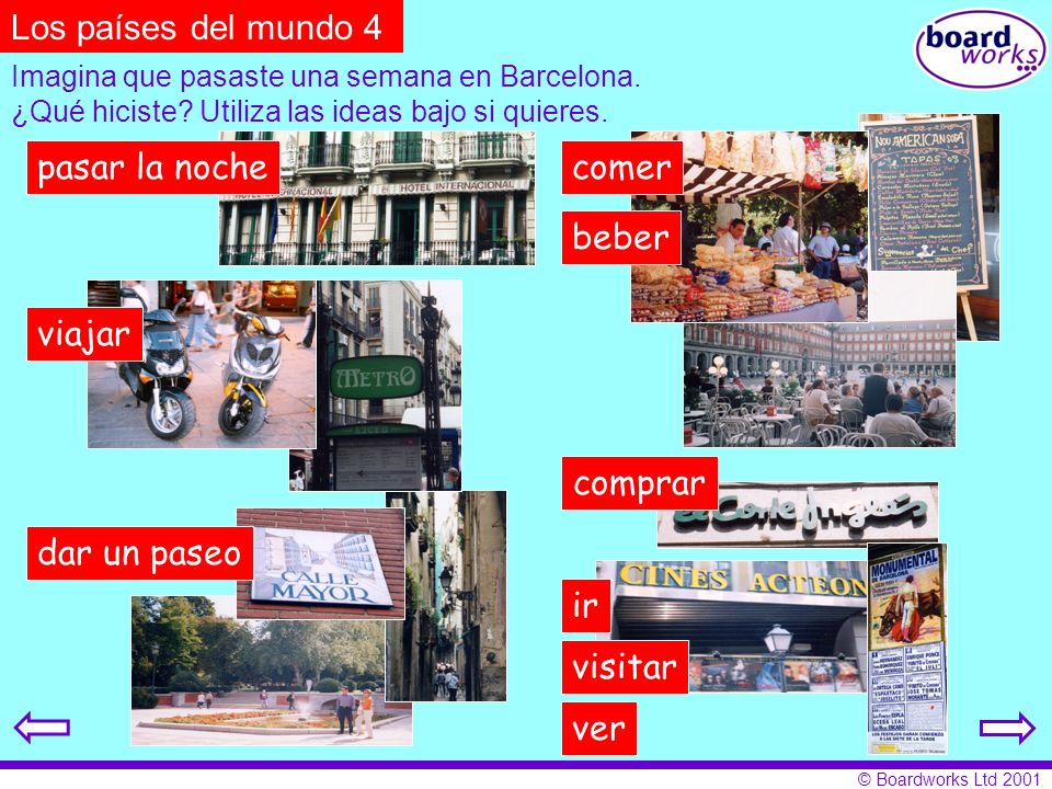 © Boardworks Ltd 2001 Imagina que pasaste una semana en Barcelona. ¿Qué hiciste? Utiliza las ideas bajo si quieres. Los países del mundo 4 pasar la no