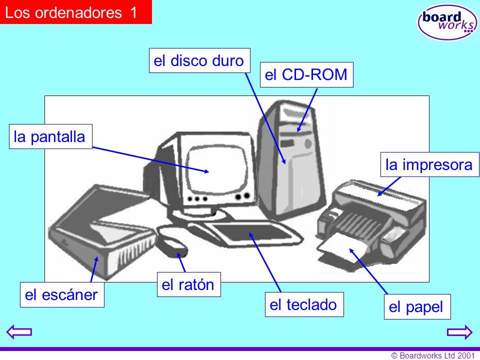 © Boardworks Ltd 2001 Los ordenadores 1 el CD-ROM la impresora el papel el teclado el ratón el escáner la pantalla el disco duro