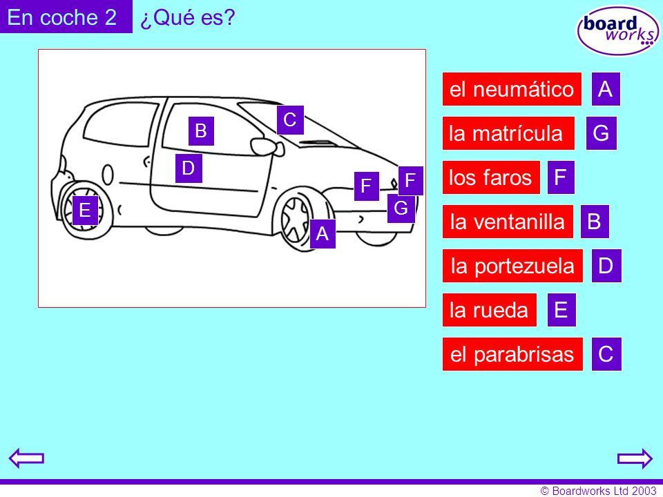 © Boardworks Ltd 2003 el neumático la rueda los faros la matrícula el parabrisas la portezuela la ventanilla ¿Qué es? A B C D E F G En coche 2 A B C D