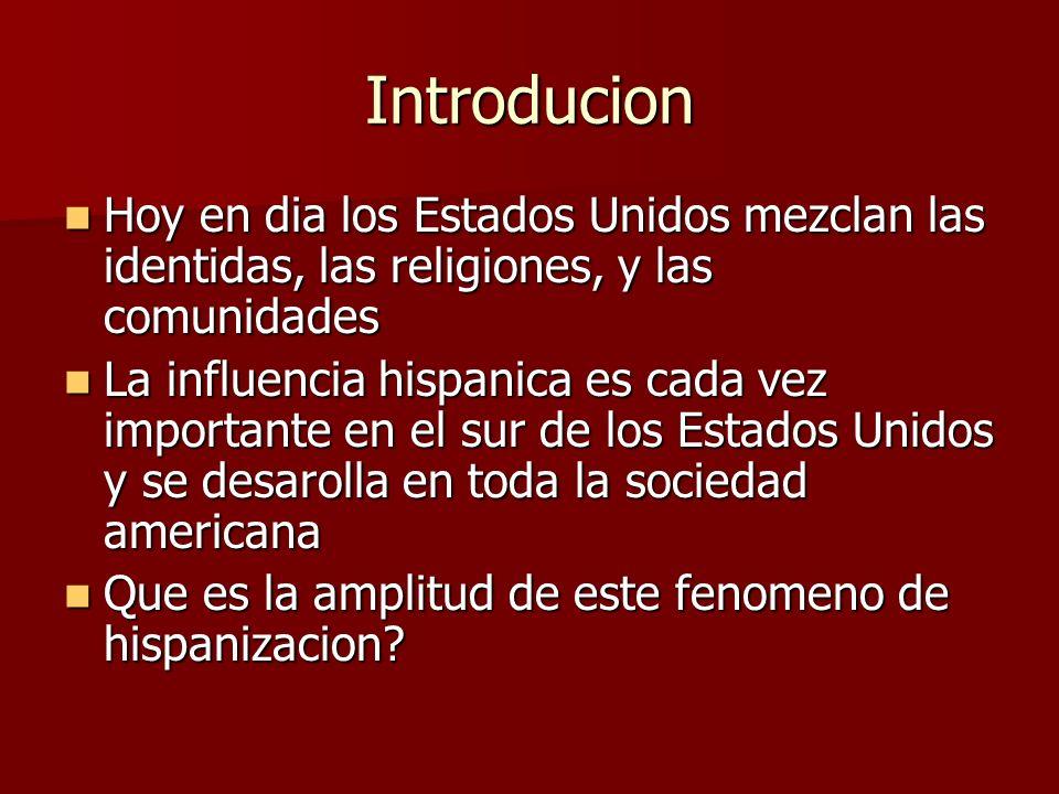 I – Un fenomeno importante… Las cifras : Habia 9 milliones de hispanicos en 1970 en los Estados Unidos Habia 9 milliones de hispanicos en 1970 en los Estados Unidos Hay actualmente màs de treinta milliones hispanicos Hay actualmente màs de treinta milliones hispanicos Los hispanicos contituyen la primera minoridad de los Estados Unidos con 13,1% de la poblacion Los hispanicos contituyen la primera minoridad de los Estados Unidos con 13,1% de la poblacion