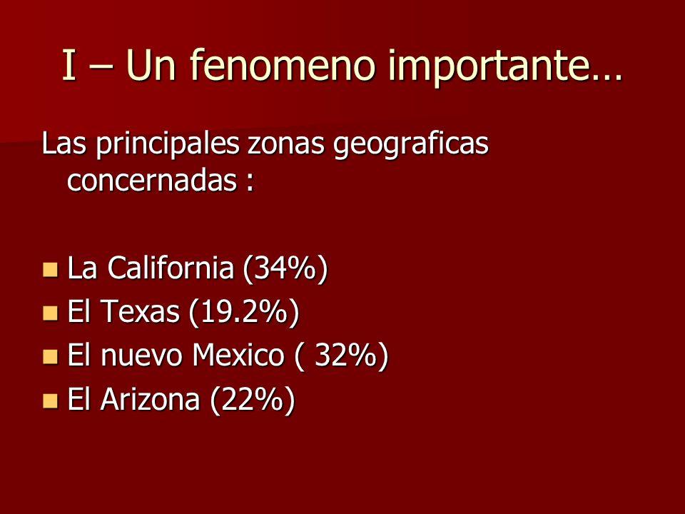 I – Un fenomeno importante… Las principales zonas geograficas concernadas : La California (34%) La California (34%) El Texas (19.2%) El Texas (19.2%)