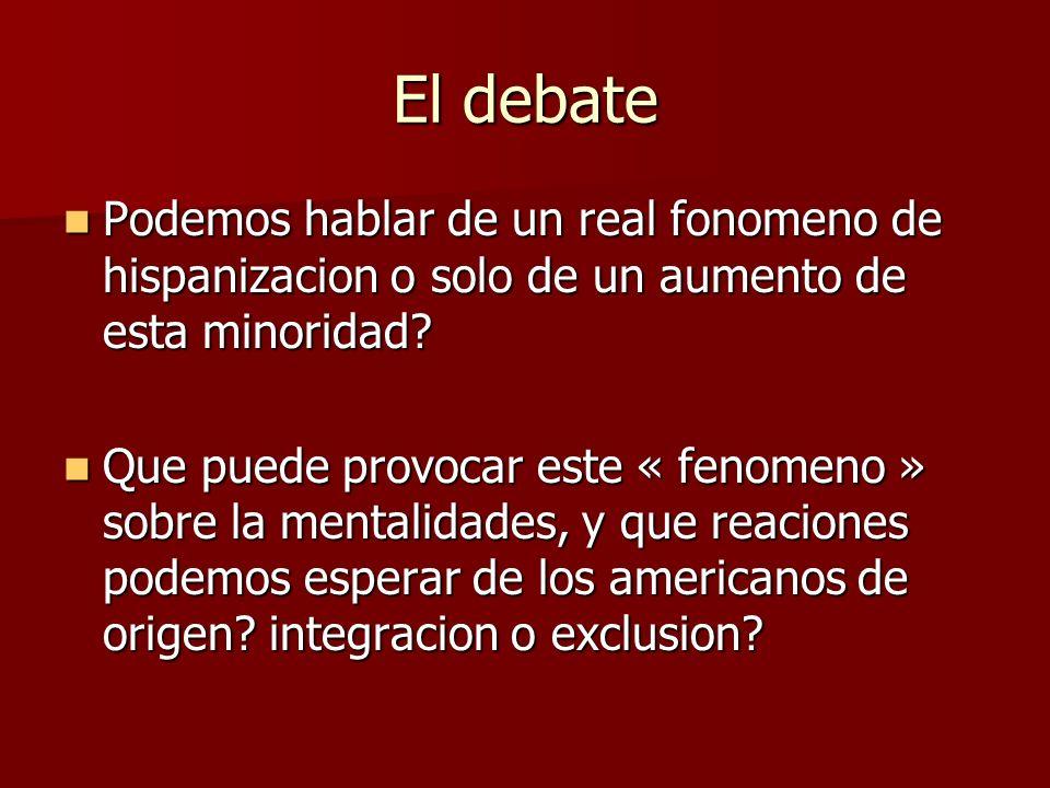 El debate Podemos hablar de un real fonomeno de hispanizacion o solo de un aumento de esta minoridad? Podemos hablar de un real fonomeno de hispanizac