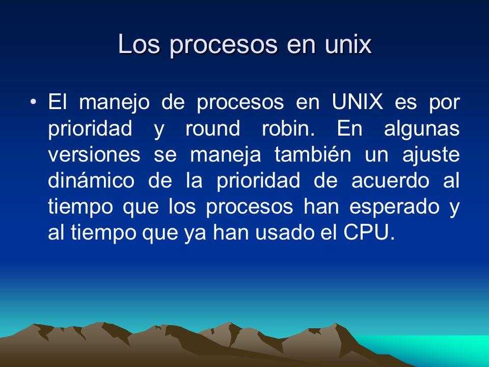 Los procesos en unix El manejo de procesos en UNIX es por prioridad y round robin. En algunas versiones se maneja también un ajuste dinámico de la pri