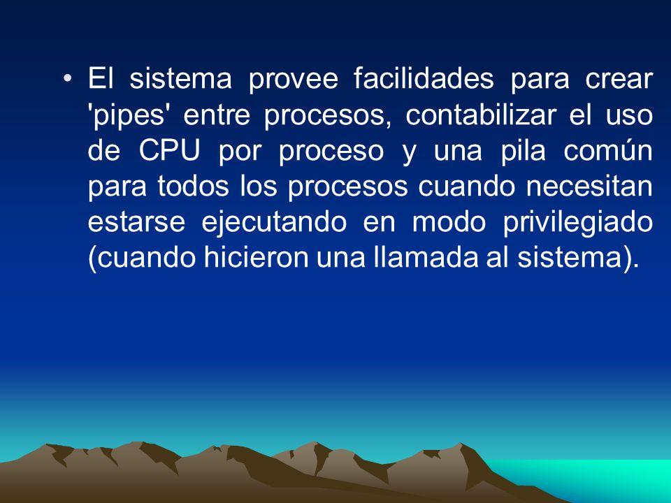 El sistema provee facilidades para crear 'pipes' entre procesos, contabilizar el uso de CPU por proceso y una pila común para todos los procesos cuand