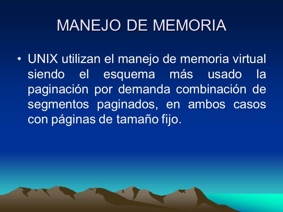 MANEJO DE MEMORIA UNIX utilizan el manejo de memoria virtual siendo el esquema más usado la paginación por demanda combinación de segmentos paginados,