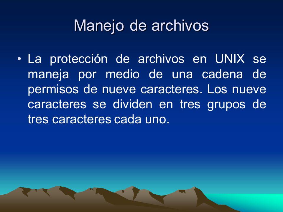 Manejo de archivos La protección de archivos en UNIX se maneja por medio de una cadena de permisos de nueve caracteres. Los nueve caracteres se divide
