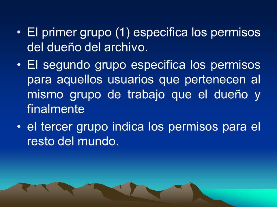 El primer grupo (1) especifica los permisos del dueño del archivo. El segundo grupo especifica los permisos para aquellos usuarios que pertenecen al m