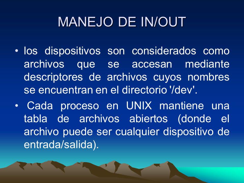 MANEJO DE IN/OUT los dispositivos son considerados como archivos que se accesan mediante descriptores de archivos cuyos nombres se encuentran en el di