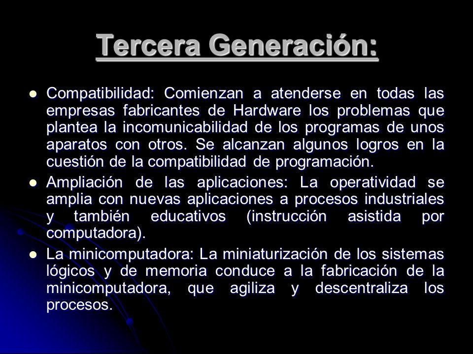 Tercera Generación: Compatibilidad: Comienzan a atenderse en todas las empresas fabricantes de Hardware los problemas que plantea la incomunicabilidad