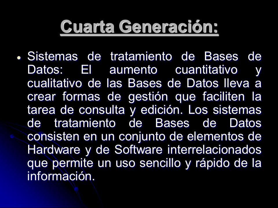 Cuarta Generación: Sistemas de tratamiento de Bases de Datos: El aumento cuantitativo y cualitativo de las Bases de Datos lleva a crear formas de gest