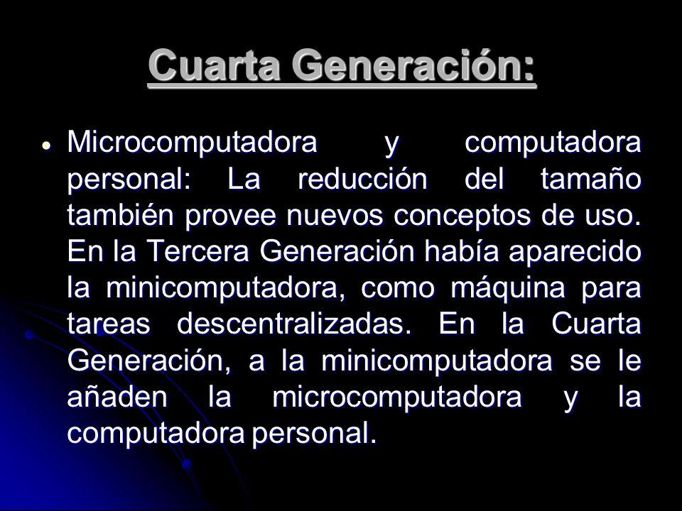 Cuarta Generación: Microcomputadora y computadora personal: La reducción del tamaño también provee nuevos conceptos de uso. En la Tercera Generación h