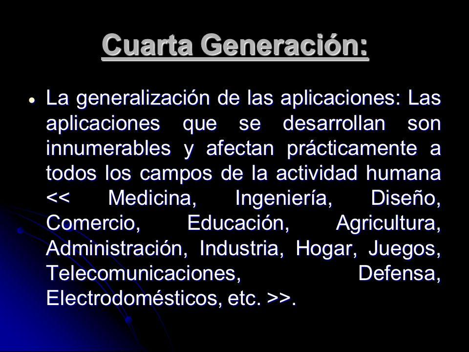 Cuarta Generación: La generalización de las aplicaciones: Las aplicaciones que se desarrollan son innumerables y afectan prácticamente a todos los cam