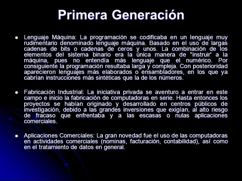 Lenguaje Máquina: La programación se codificaba en un lenguaje muy rudimentario denominado lenguaje máquina. Basado en el uso de largas cadenas de bit