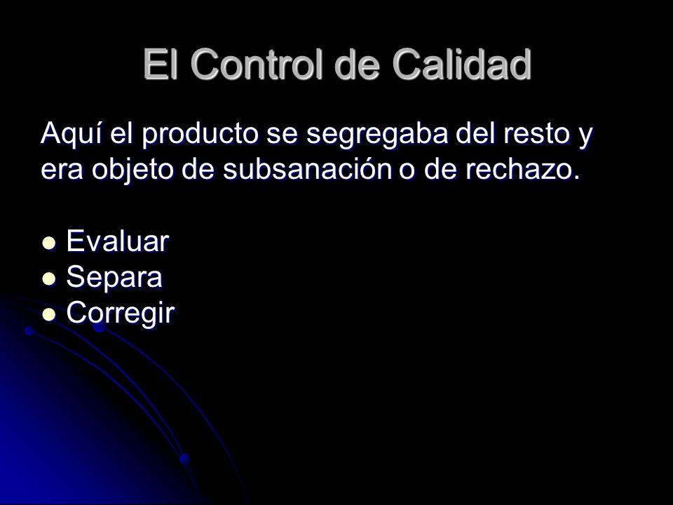 El Control de Calidad Aquí el producto se segregaba del resto y era objeto de subsanación o de rechazo. Evaluar Evaluar Separa Separa Corregir Corregi