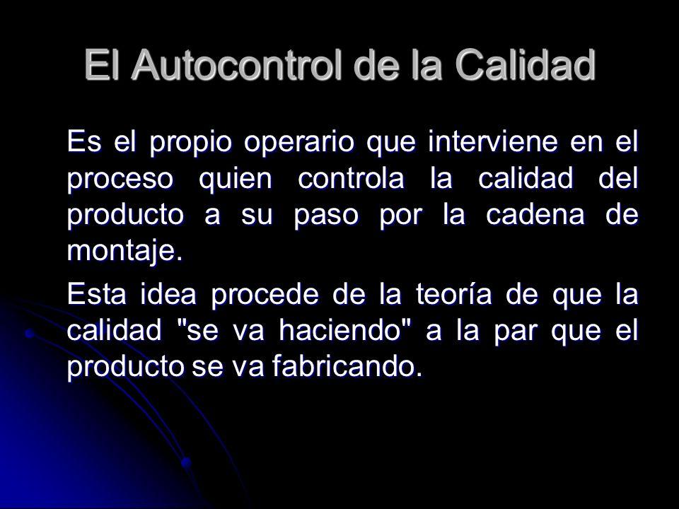 El Autocontrol de la Calidad Es el propio operario que interviene en el proceso quien controla la calidad del producto a su paso por la cadena de mont