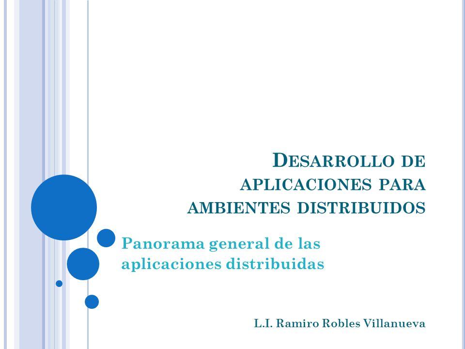 D ESARROLLO DE APLICACIONES PARA AMBIENTES DISTRIBUIDOS Panorama general de las aplicaciones distribuidas L.I. Ramiro Robles Villanueva