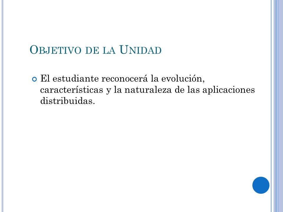O BJETIVO DE LA U NIDAD El estudiante reconocerá la evolución, características y la naturaleza de las aplicaciones distribuidas.