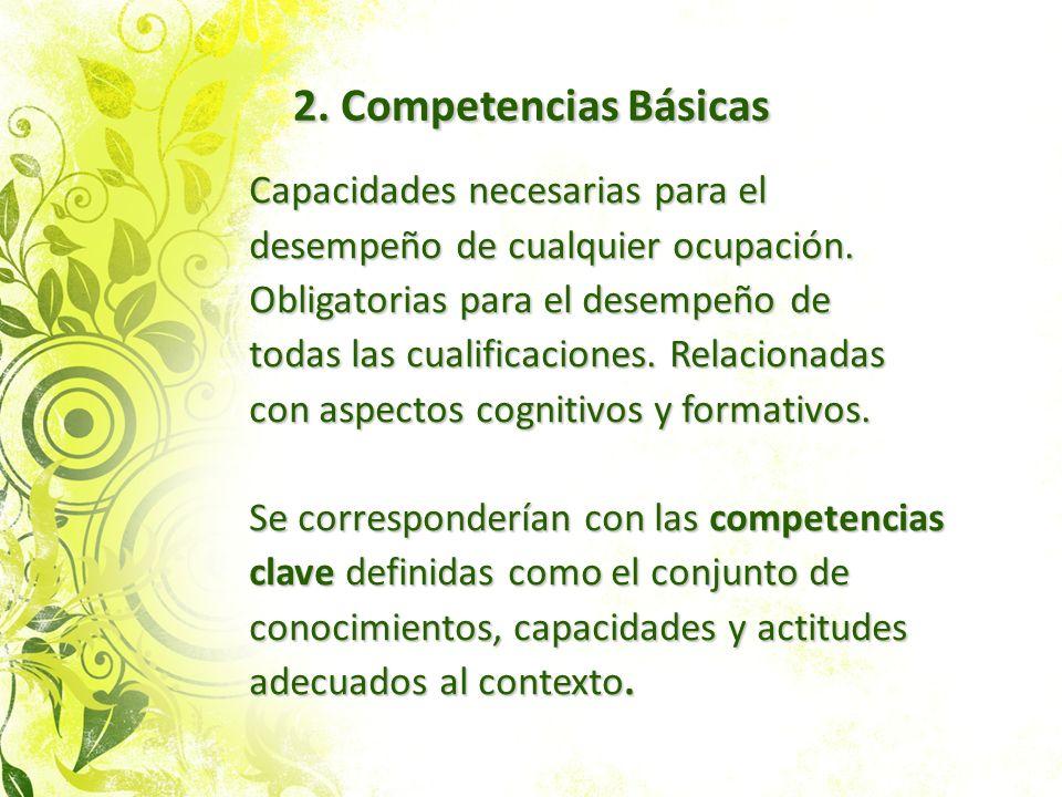 2. Competencias Básicas Capacidades necesarias para el desempeño de cualquier ocupación. Obligatorias para el desempeño de todas las cualificaciones.