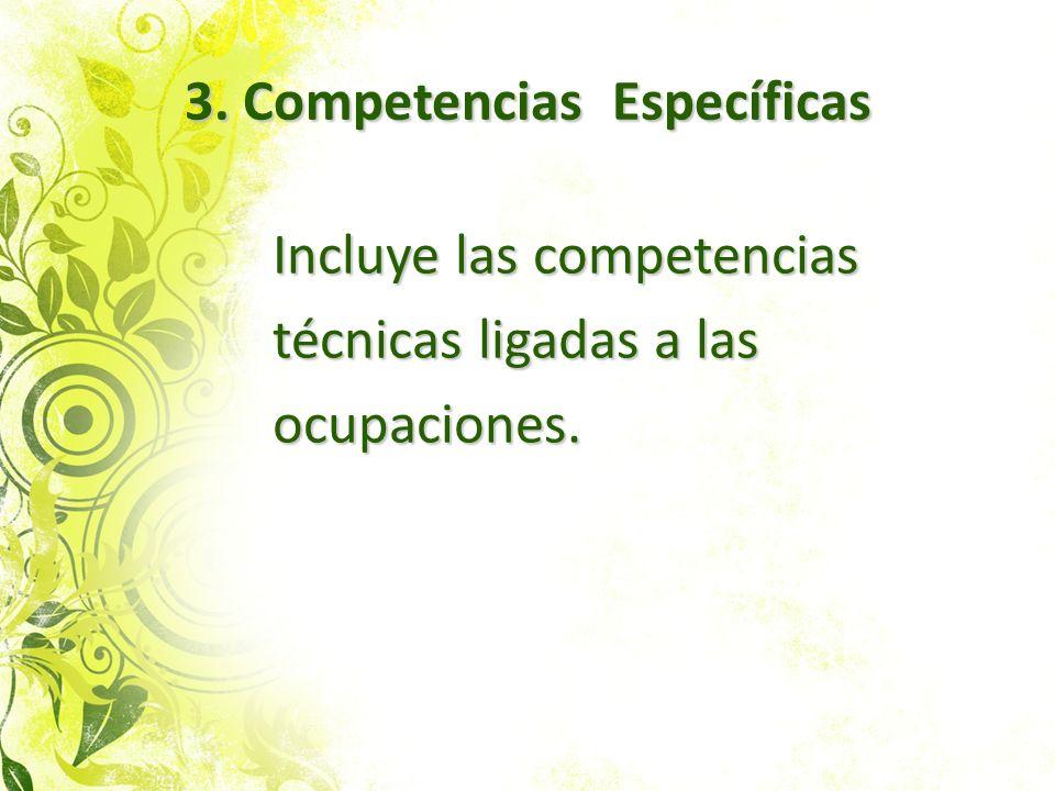 3.Competencias Específicas 3. Competencias Específicas Incluye las competencias técnicas ligadas a las ocupaciones.