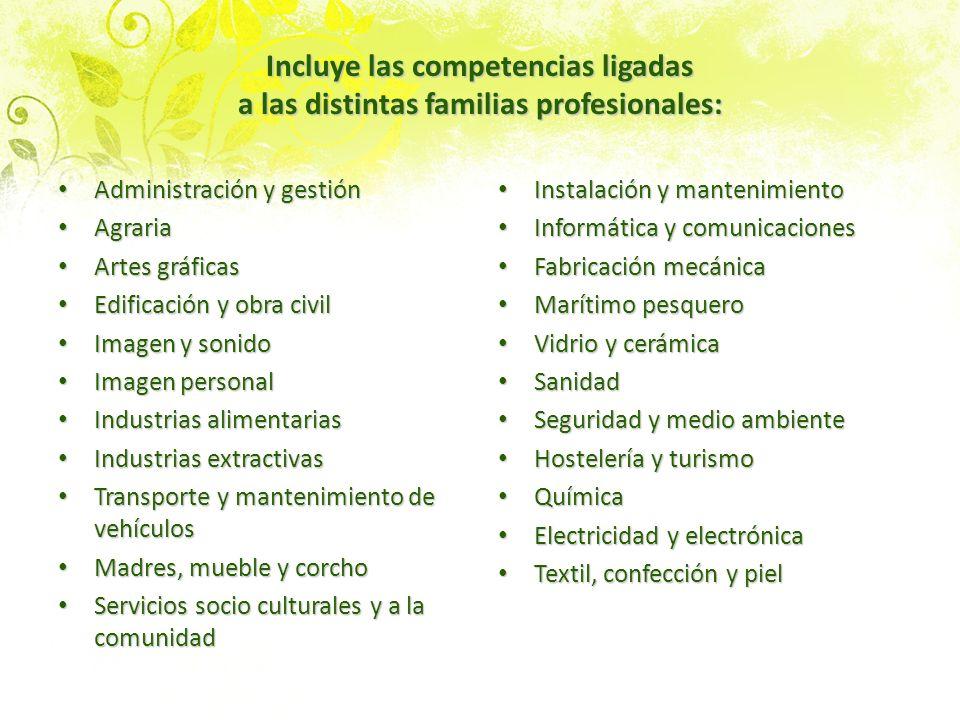 Incluye las competencias ligadas a las distintas familias profesionales: Administración y gestión Administración y gestión Agraria Agraria Artes gráfi